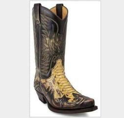 Mens New Fashion PU Leather Embroidered Mid Claf Western Cow