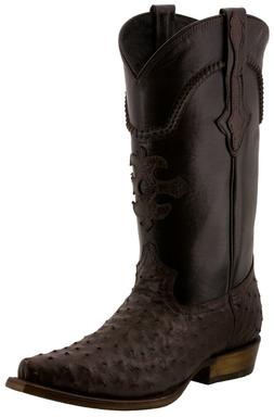 Mens Ostrich Quill Skin Cowboy Boots Snip Toe Genuine Exotic