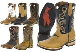 Mens Real Leather Western Cowboy Boots Assorted Colors Squar