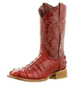 Mens Red Crocodile Alligator Tail Leather Western Cowboy Boo