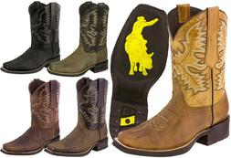 Mens Western Cowboy Boots Genuine Leather Classic Rodeo Squa