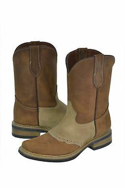 Mens Saddle Vamp Cowboy Boots Beige Tan Genuine Leather West