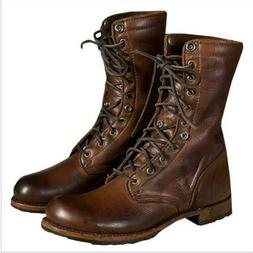 Mens Vintage Leather Motorcycle Boots Military Lace up Cowbo