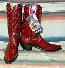 Mens Vintage Wrangler Maroon Red Leather Cowboy Boots 11.5 B