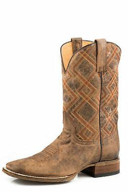 Roper Mens Waxy Brown Leather Nash Cowboy Boots