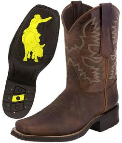 Mens Western Cowboy Boots Cognac Real Leather Classic Rodeo