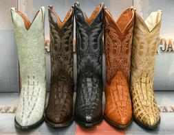 Mens Western Cowboy Boots Crocodile Tail Pattern Genuine Lea