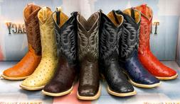 Mens Western Cowboy Boots Ostrich Quill Pattern Genuine Leat