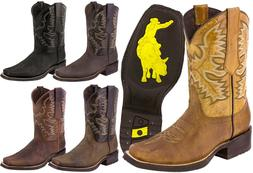 Mens Western Work Cowboy Boots Assorted Colors Distress Real