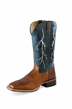Old West Navy/Tan Mens Leather Lightning Cowboy Boots