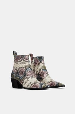 ZARA NEW ANIMAL PRINT COWBOY ANKLE BOOTS SNAKE PRINT POINTED