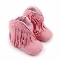 NEW Baby Girls Pink Faux Suede Fringe Cowboy Boots Crib Shoe