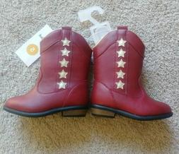New Cat & Jack Baby Toddler Red Gold Star Zip Up Cowboy Boot