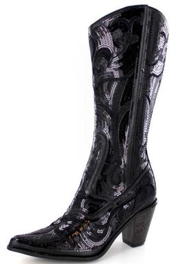 NEW HELENS HEART BLACK SEQUIN COWBOY BOOTS SIZE 5, 6, 7, 8,