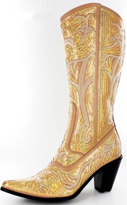 NEW HELENS HEART GOLD SEQUIN COWBOY BOOTS SIZE 5, 6, 7, 8, 9