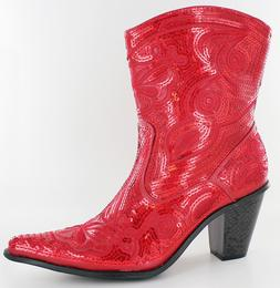 NEW HELENS HEART SHORT RED SEQUIN COWBOY BOOTS SIZE 5, 6, 7,