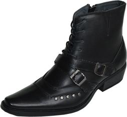 New Men Western black Cowboy Fashion Boots Side zip Shoes -