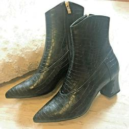 NEW POINTED CROC EMBOSSED POINTED TOE COWBOY WESTERN ANKLE B
