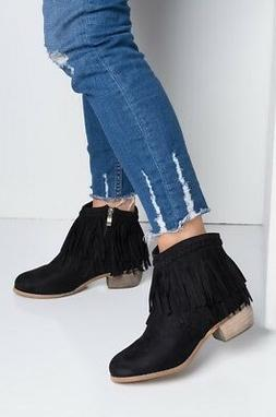 New Women's Cowboy Western Fringe Ankle Boot Booties Med Low