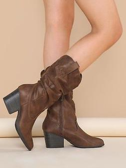 New Women's Pointy Toe Slouchy Mid Calf Cowboy Cowgirl Weste