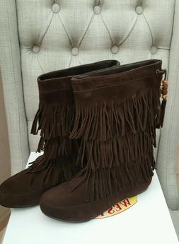 NIB WEST BLVD FRINGE BOHO FESTIVAL 3 LAYER MOCCASIN FAUX SUE