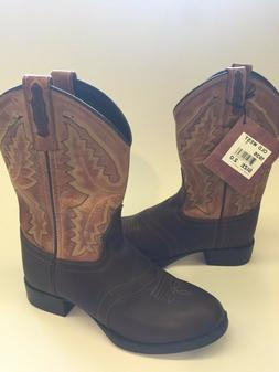 NWT-Old West 1936- Size 2 Youth All Leather Cowboy Boots