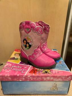 Disney Princess Pink Cow Girl Western Boots Toddler Size 7 w