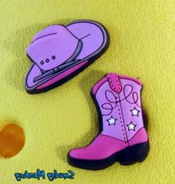 PINK GIRL WESTERN COWBOY BOOTS HAT COWGIRL Authentic Jibbitz