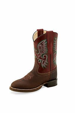 Old West Red/Brown Childrens Boys Leather Western Stitch Cow