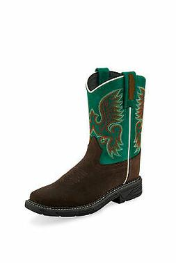 Old West Green/Brown Childrens Boys Leather Western Stitch C
