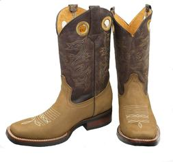 RODEO BOOTS COWBOY GENUINE LEATHER WESTERN SQUARE TOE BOTAS