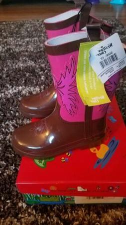 Western Chief Rubber Rain Boots Brown & Pink Western Cowboy