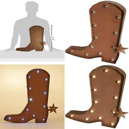 Rustic Marquee LED Lighted Western Cowboy Boot Sign Wall Dec