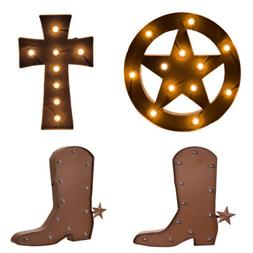 Glitzhome Rustic Western Styles 3D Marquee LED Light Sign De