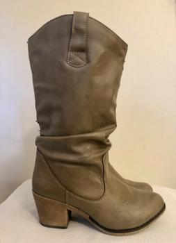 Charles Albert Slouch Western Cowboy Boots Tan Faux Leather