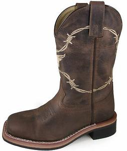 Smoky Mountain Childrens Boys Logan Waxed Brown Leather Cowb