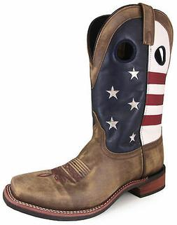 Smoky Mountain Mens Stars And Stripes Vintage Brown Leather