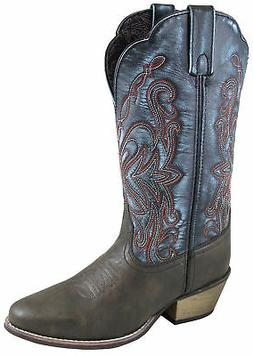 Smoky Mountain Womens Fusion #1 Brown/Blue Leather Cowboy Bo