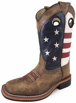 Smoky Mountain Boots Youth Boys Memphis Brown Faux Leather Cowboy