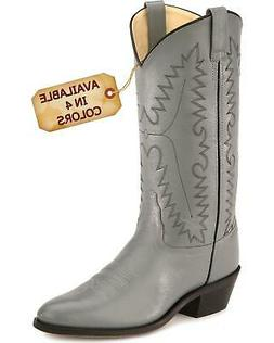 Old West Smooth Leather Cowboy Boot - Medium Toe - SCM7037