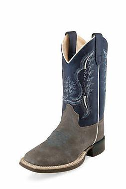 Old West Suede Grey/Blue Children Boys Leather Cowboy Boots