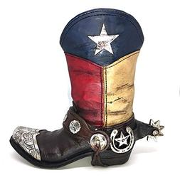 Texas Lone Star Cowboy Boot with Spur Small Vase Planter for