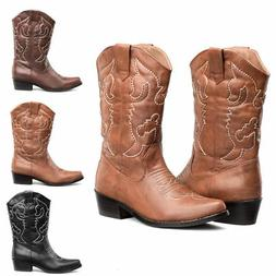 US FREE SHIP SheSole Women's Cowboy Boots Embroidery Low Hee