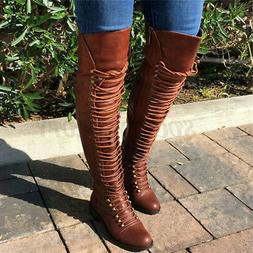 US Women Over Knee Thigh Knight High Long Boots Shoe Bandage