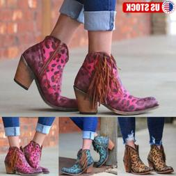 US Womens Low Block Heel Zip Up Cowboy Ankle Boots Leopard T