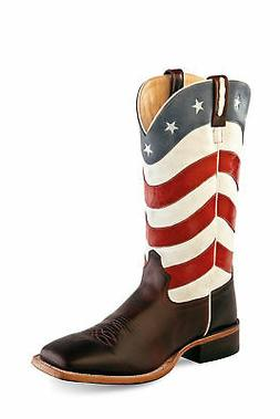 usa flag mens leather 13in western cowboy