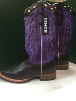 Cinch Western Boots Cowboy Square Toe Dark Brown Purple CFM6