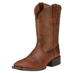 Ariat Western Boots Mens Sport Leather Wide Square Toe Brown