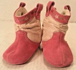 Baby Deer Western BOOTS Pink Suede Leather Crawl Stage GIRL