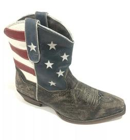 Roper Western Boots Sz 10 Ankle USA Flag Brown 09-021-0977-0
